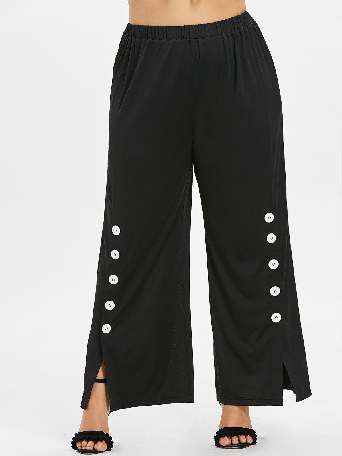 Fashion Plus Size Button Sides Wide Leg Pants