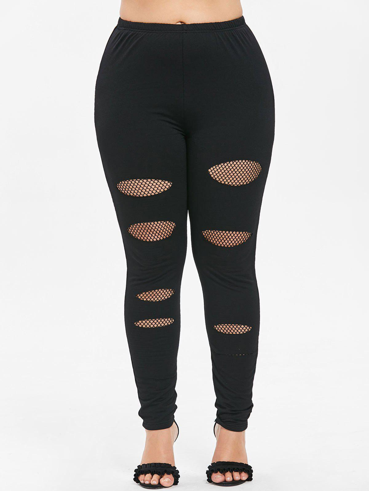 Buy Plus Size Fishnet Trim Holes Leggings