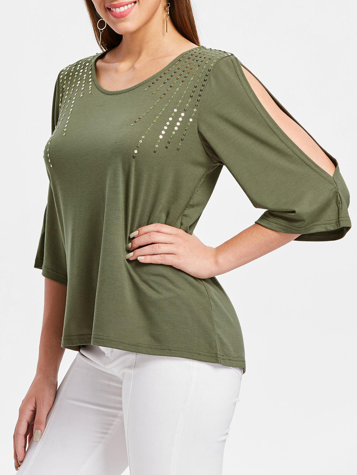 Discount Sequin Embellished Cut Out Sleeve T-shirt