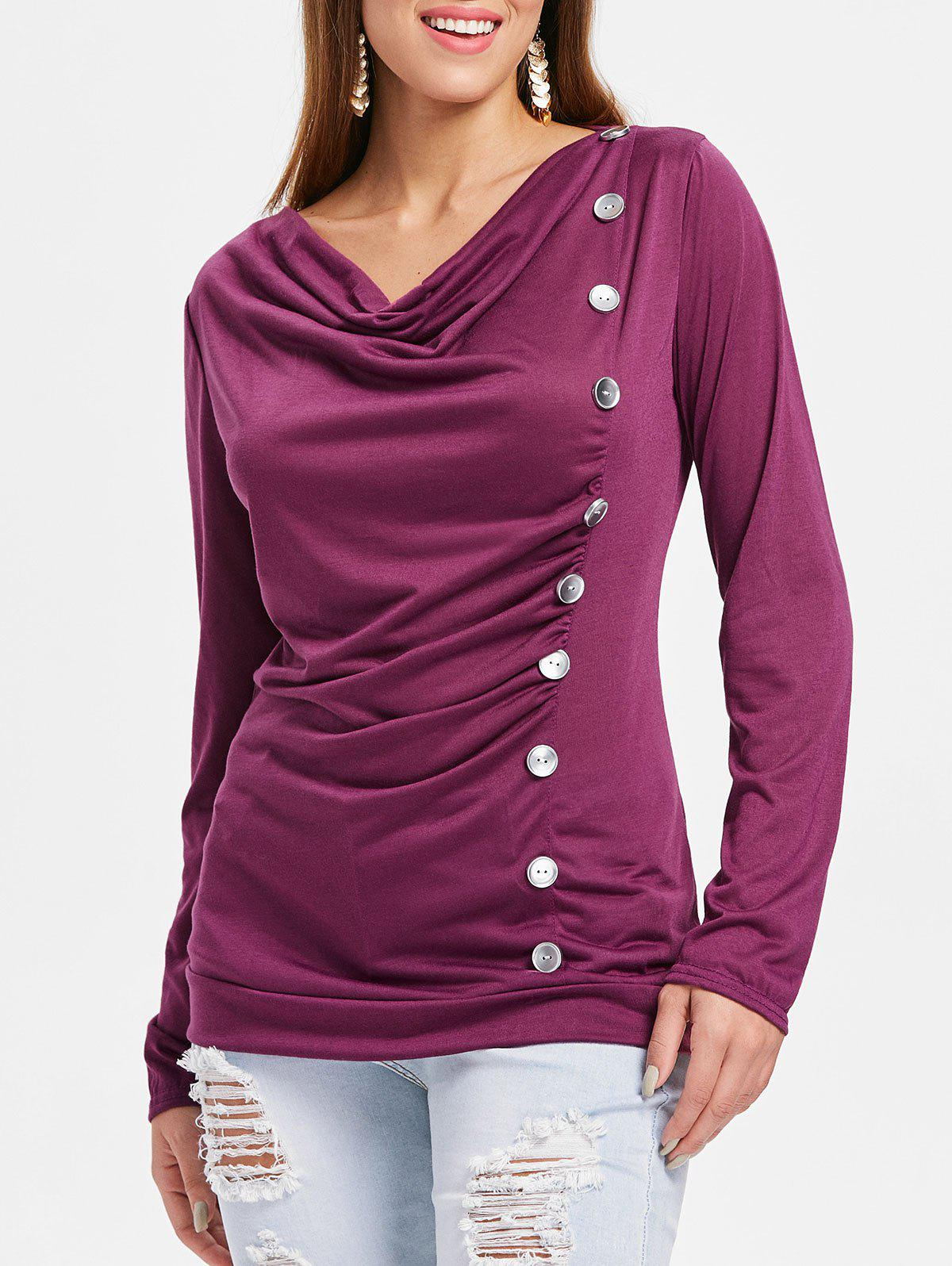 Chic Button Embellished Cowl Neck T-shirt