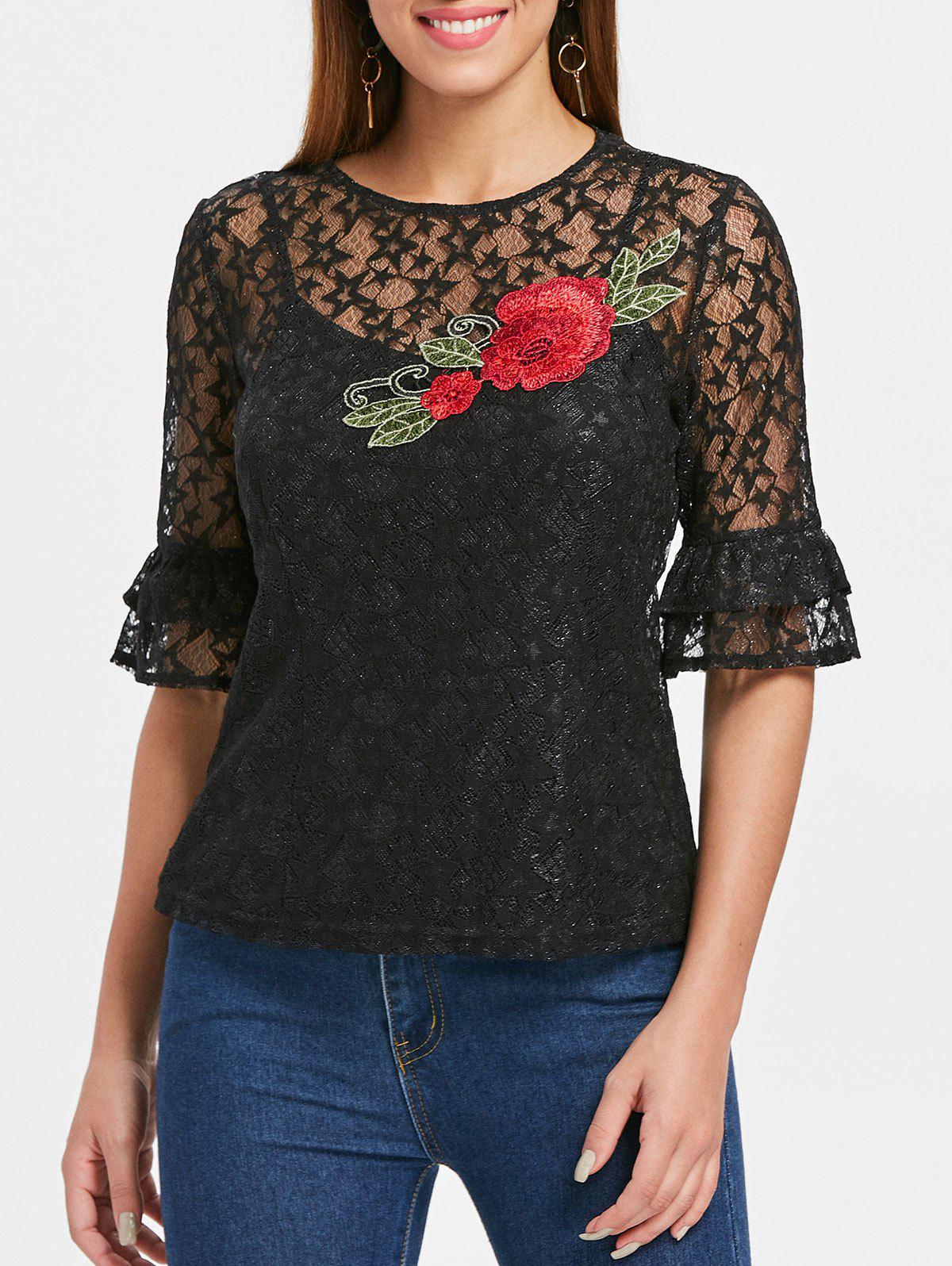 Store Embroidered Lace Top with Camisole