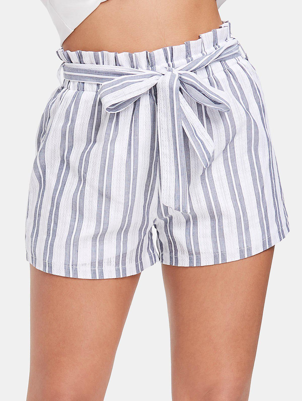 aa11261e33 59% OFF] Striped High Waist Shorts With Belt | Rosegal