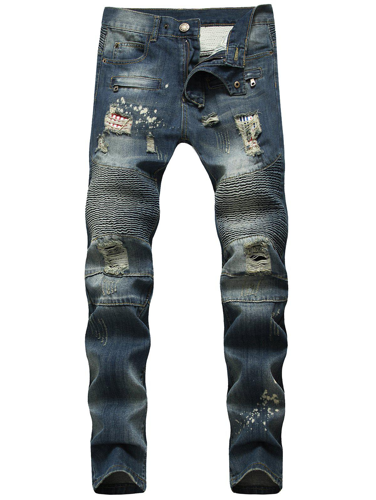 New Ripped Patch Narrow Feet Biker Jeans