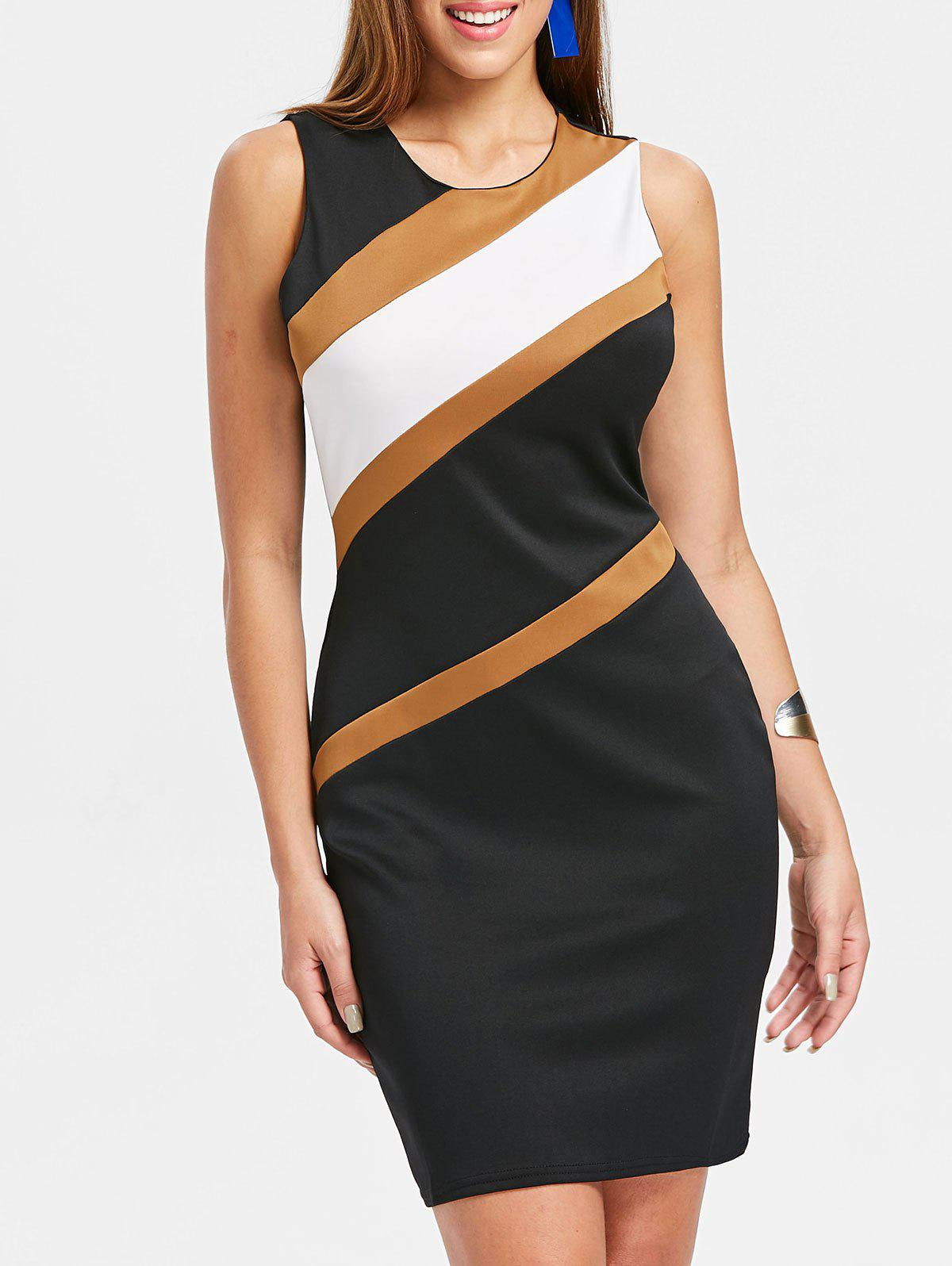 Outfit Color Block Round Neck Bodycon Dress