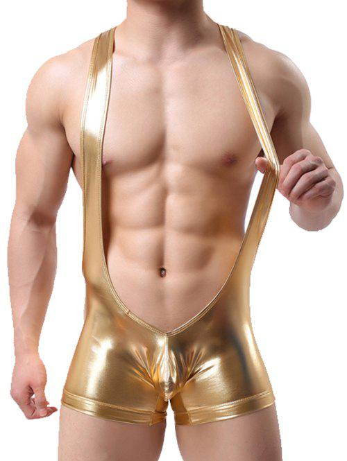 Discount Artificial Leather Suspender Bodysuit Strap Trunk