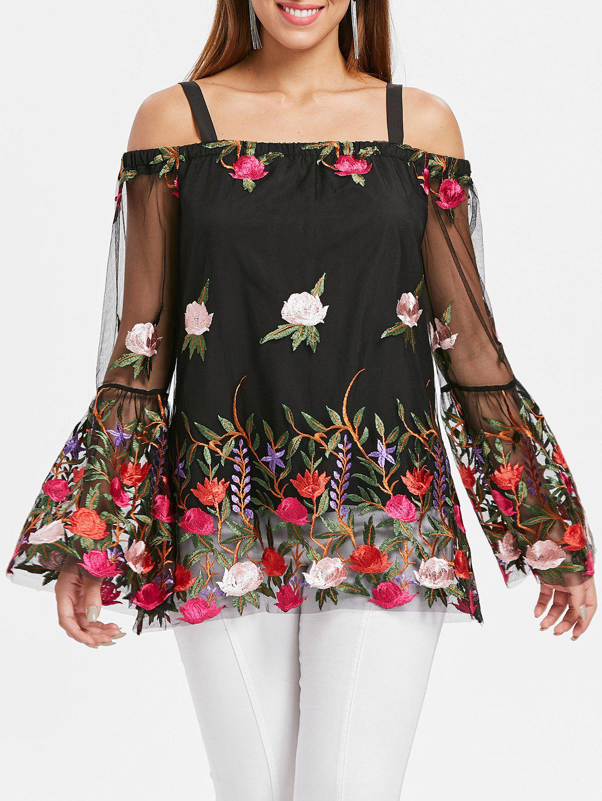 Outfit Mesh Panel Embroidery Bell Sleeve Blouse