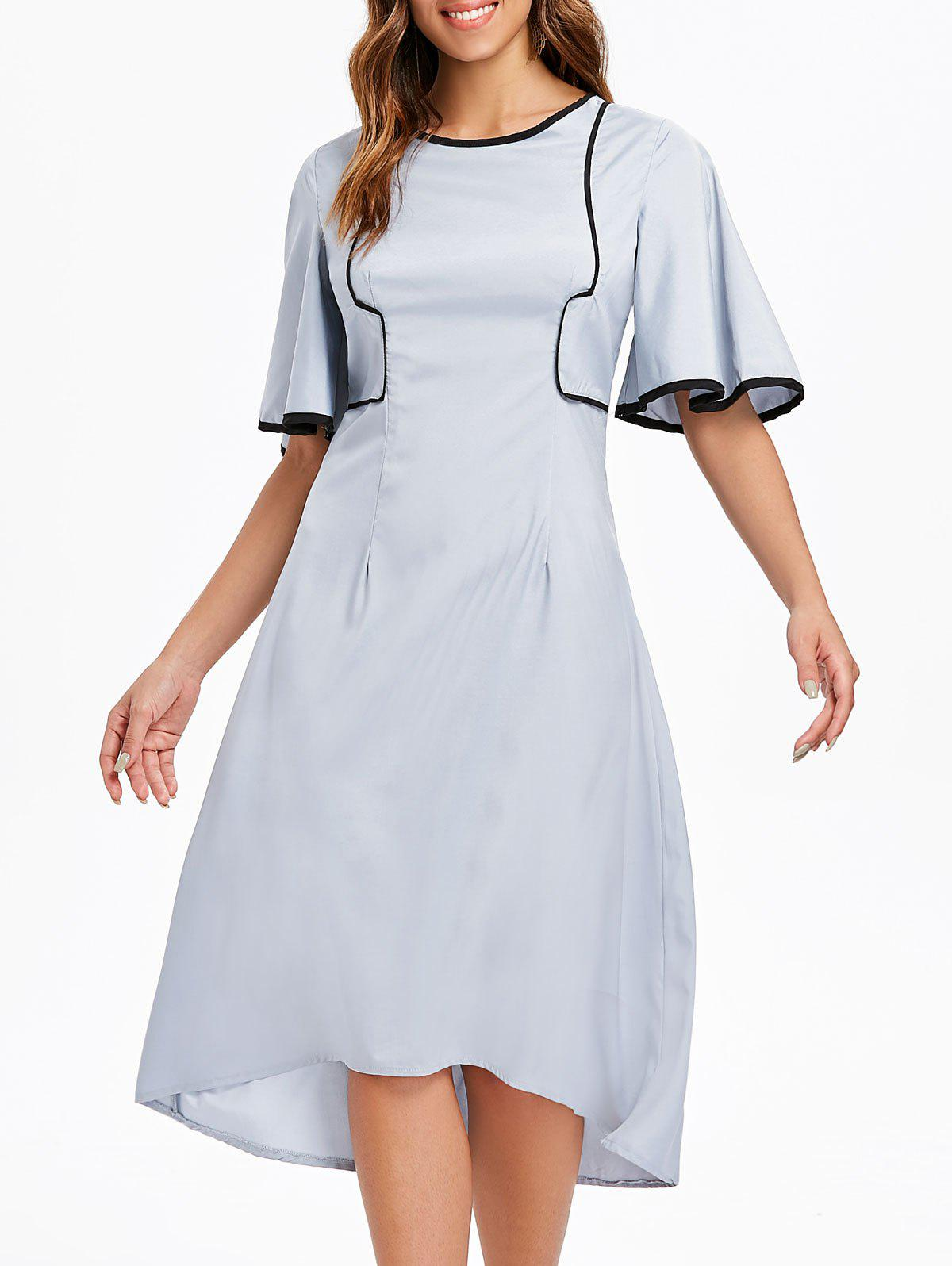 Hot Round Neck Flare Sleeve High Low Dress