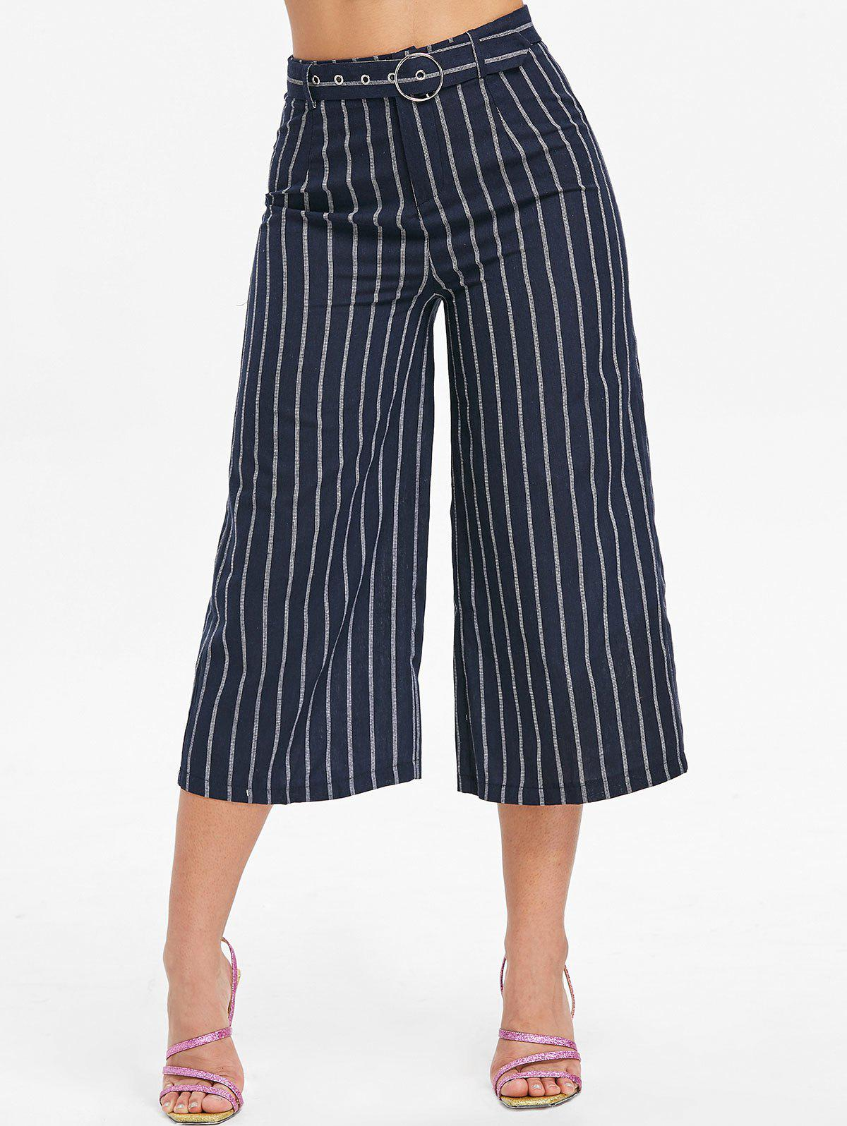 Chic High Waist Striped Capri Pants