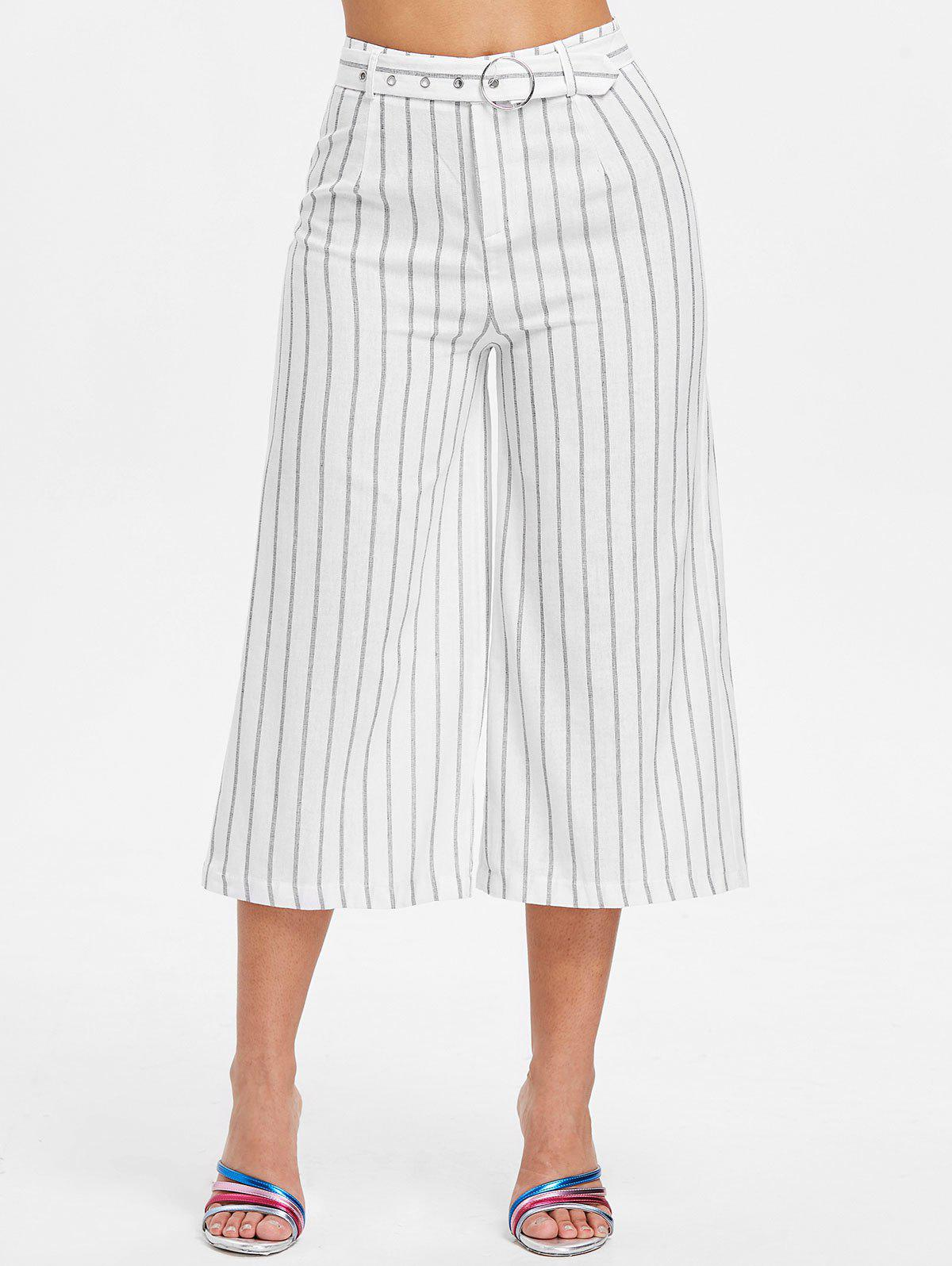 Hot High Waist Striped Capri Pants