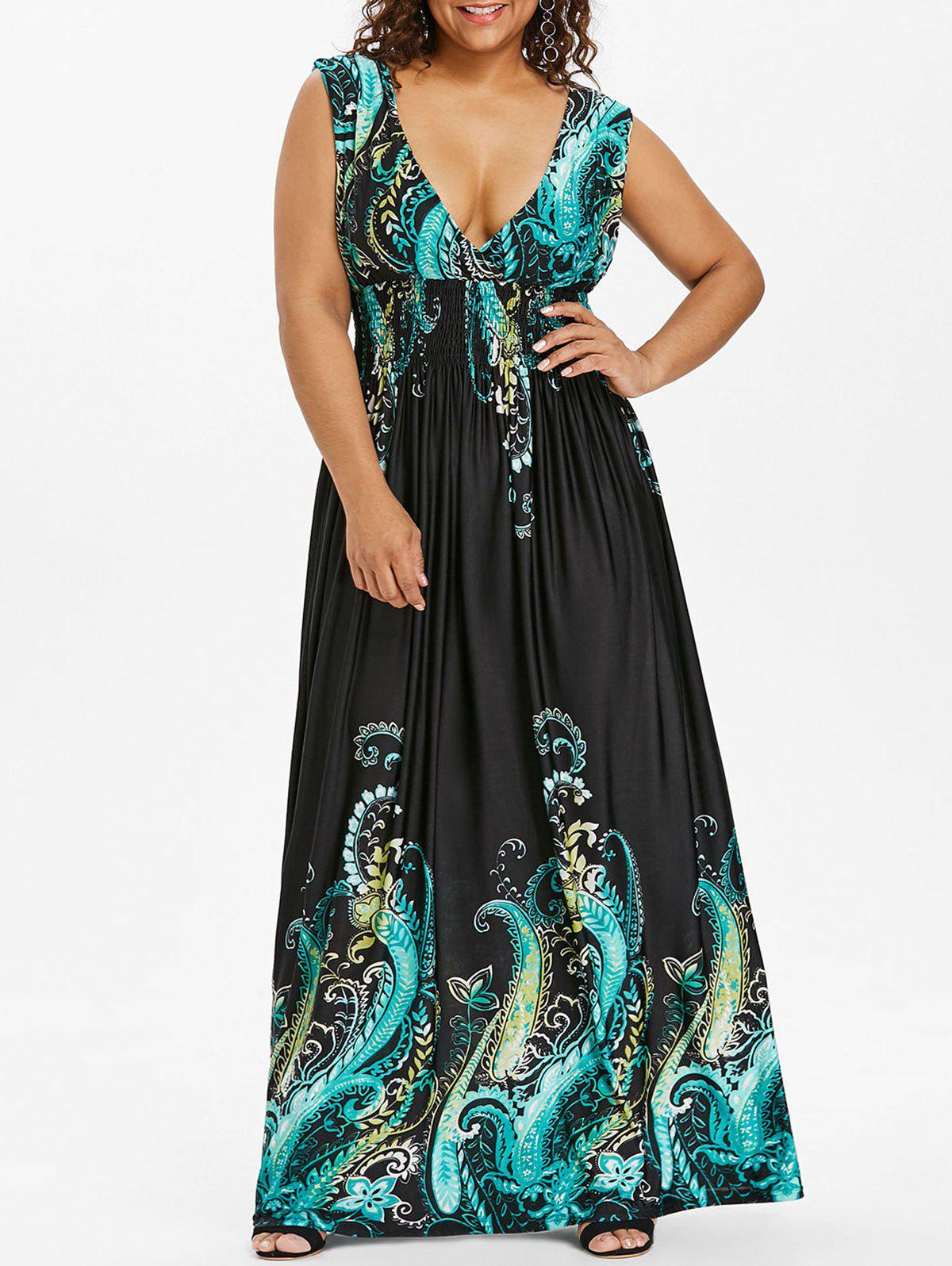 Trendy Paisley Plunge Maxi Evening Dress for Plus Size