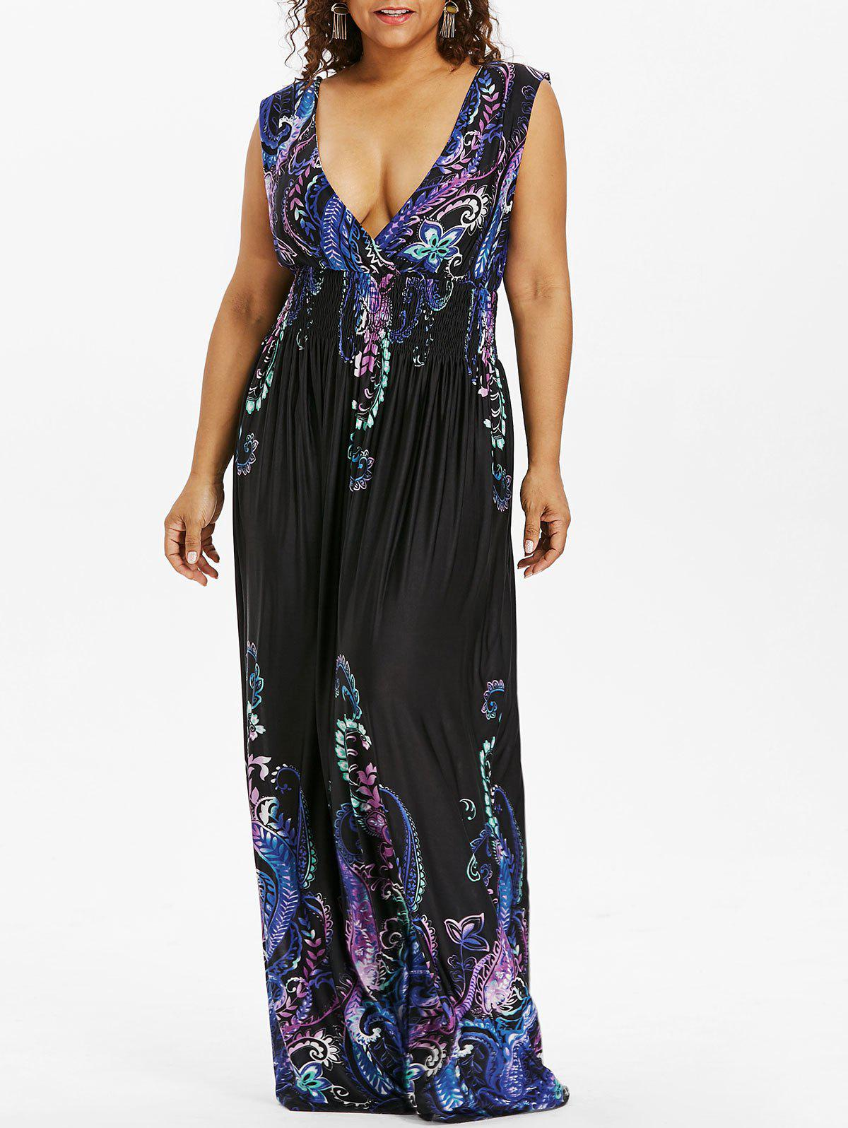 Buy Paisley Plunge Maxi Evening Dress for Plus Size