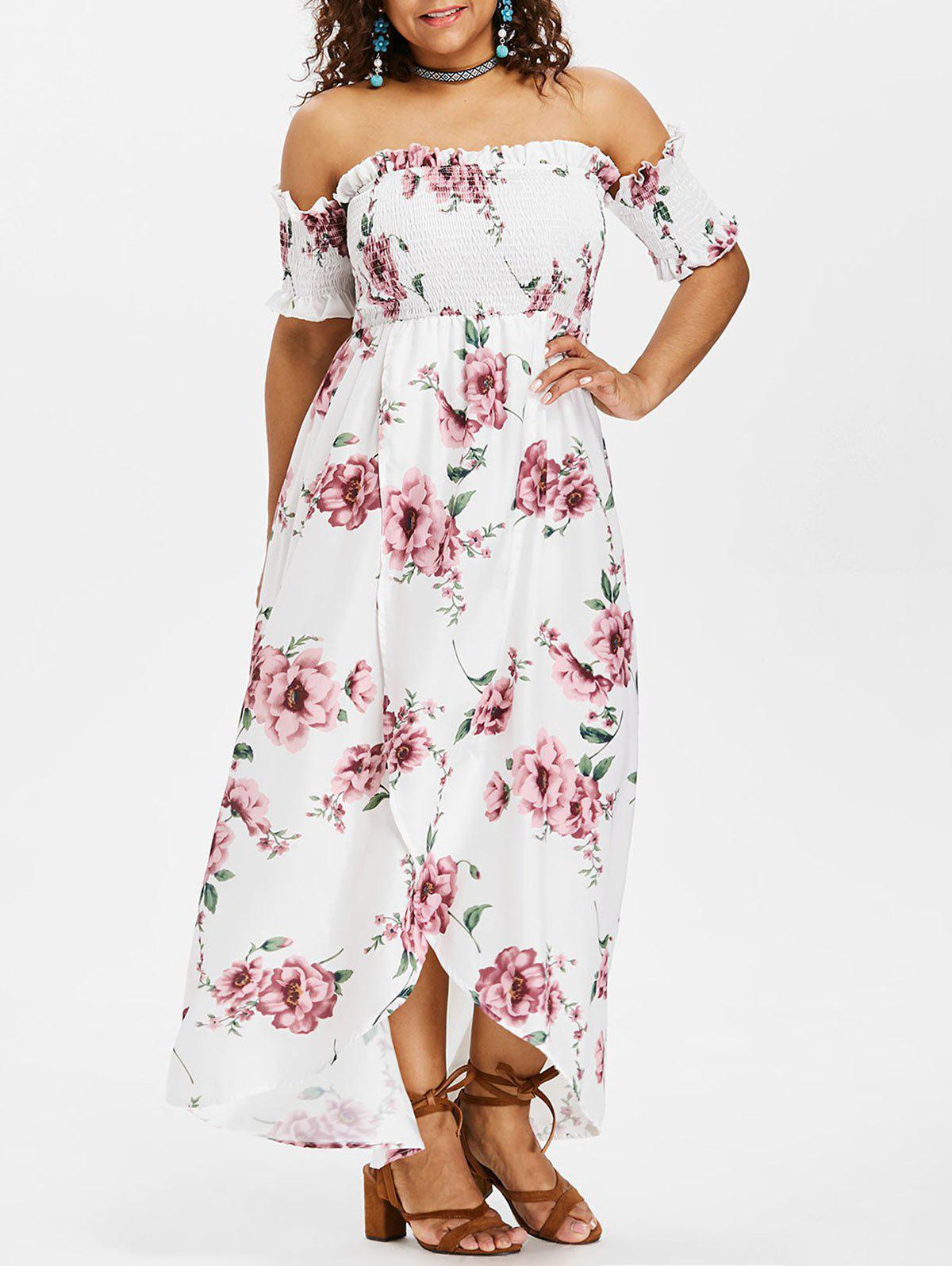 Latest Plus Size Smocked Floral Dress