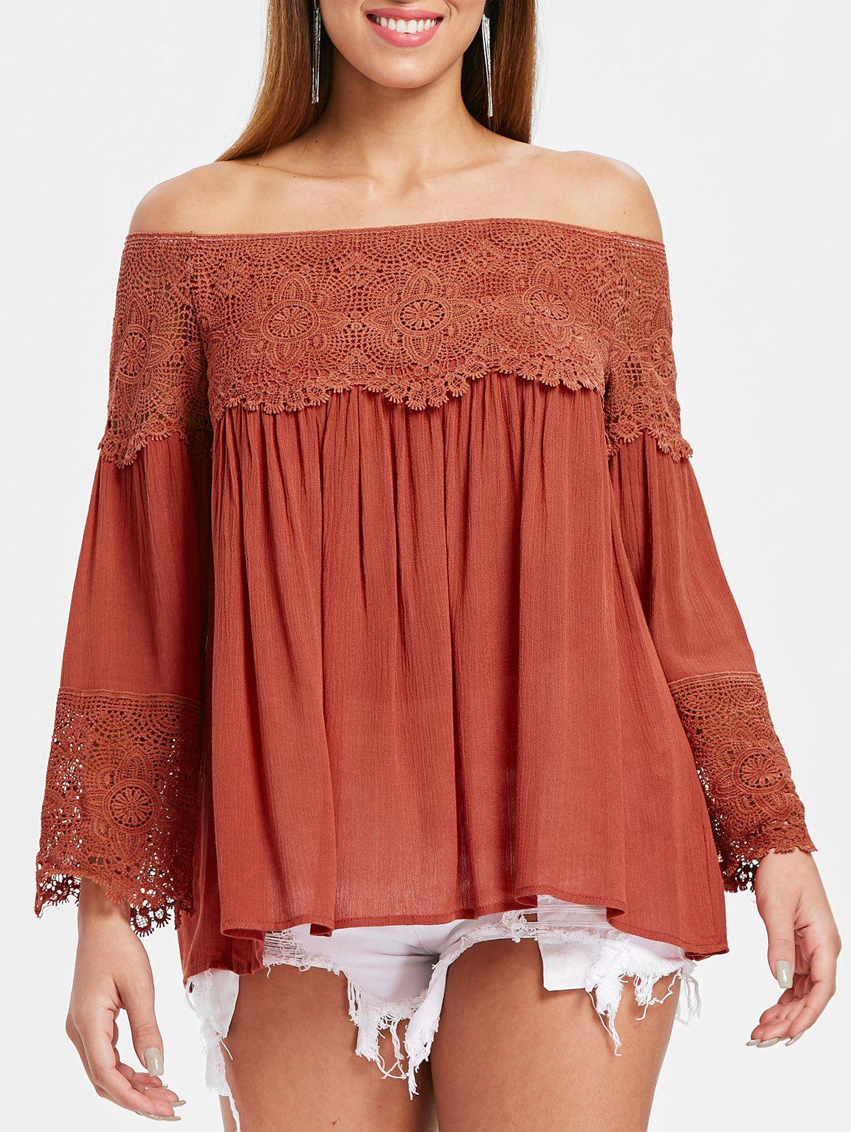 Trendy Off The Shoulder Full Sleeve Smock Blouse