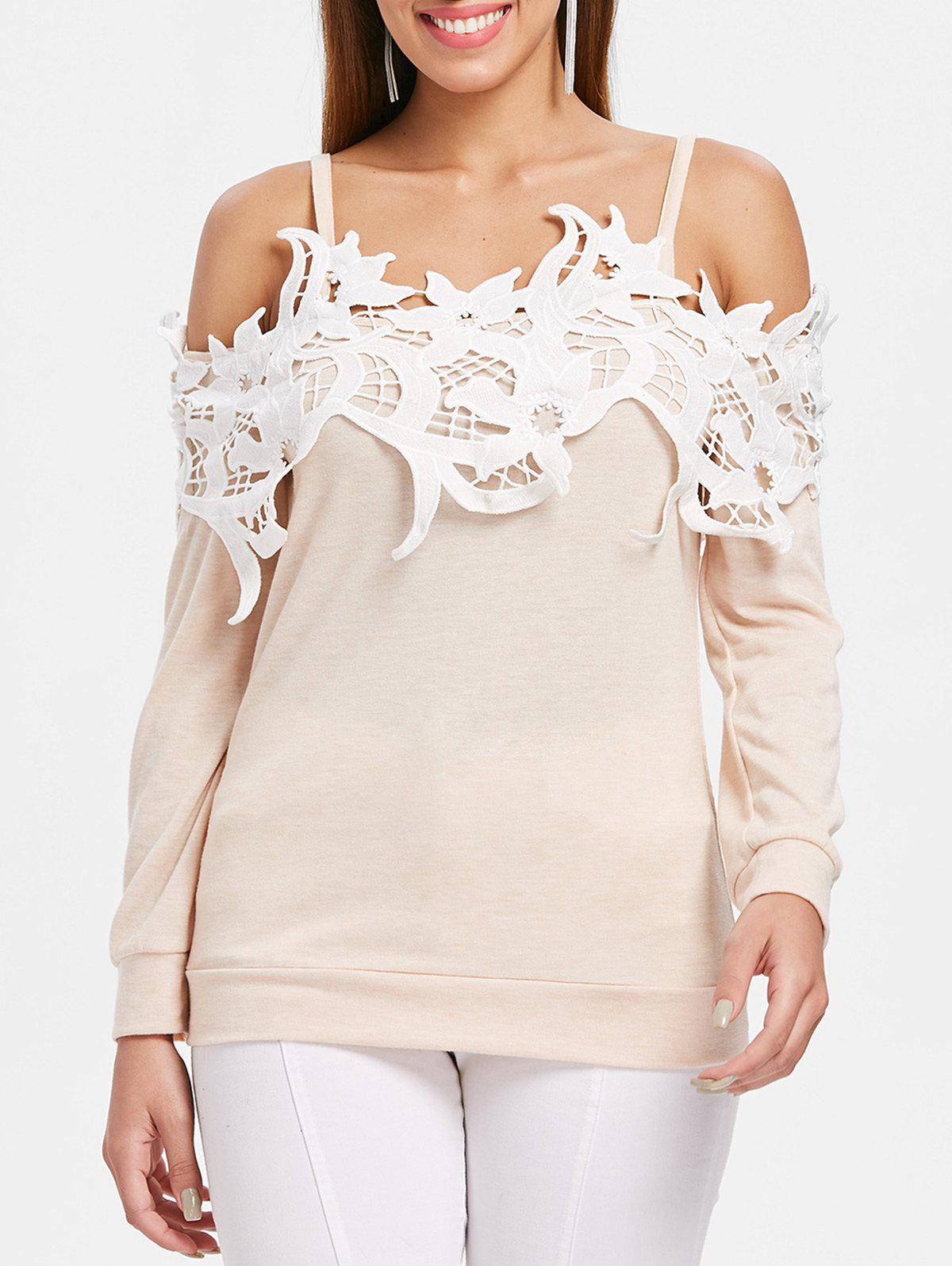 Trendy Lace Brim Cold Shoulder Cuff Sleeve T-shirt