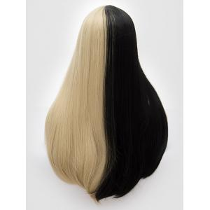 Long Center Parting Two Tone Party Straight Synthetic Wig -