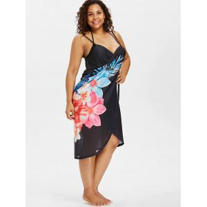 Floral Print Plus Size Convertible Cover Up Dress -