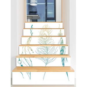 Feather Print Decorative Stair Stickers -