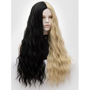 Long Center Parting Two-tone Natural Wavy Party Synthetic Wig -