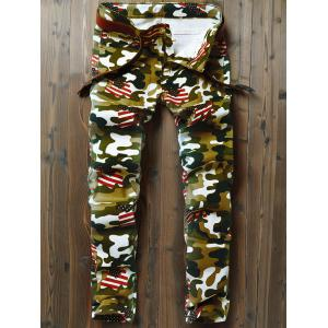 Camouflage USA Flag Inspired Straight Leg Jeans -