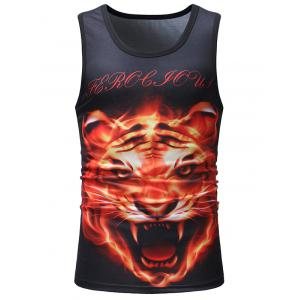 Casual 3D Fierce Tiger Head Print Tank Top -