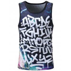 Bold Letter Galaxy Print Casual Tank Top -