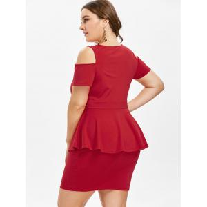 Plus Size Cold Shoulder Ruffle Dress -