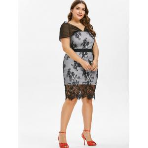 Plus Size Cap Sleeve Lace Bodycon Dress -