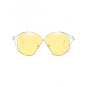 Hollow Out Frame Irregular Flat Lens Novelty Sunglasses -