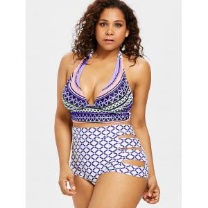 Plus Size Geometric High Rise Bikini Set -