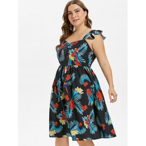 Plus Size Frill Palm Print Dress -