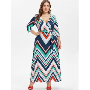 Plus Size Zig Zag Surplice Dress -