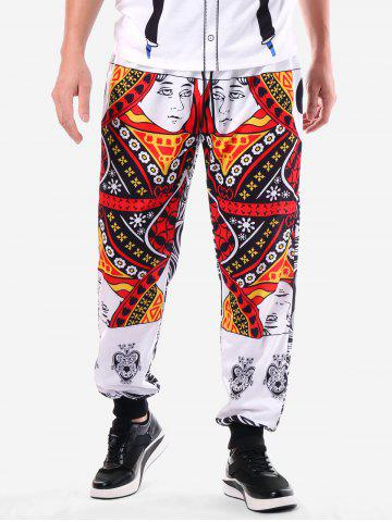 Narrow Feet Poker Cards Print Pants