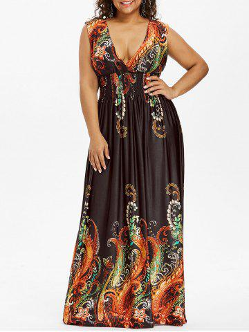 Unique Paisley Plunge Maxi Evening Dress for Plus Size