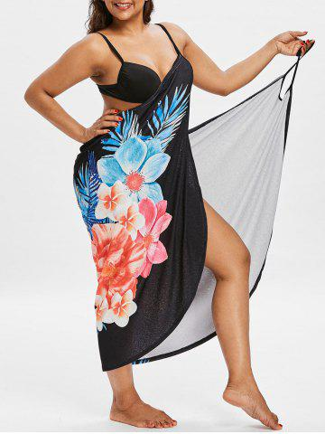 Affordable Floral Print Plus Size Convertible Cover Up Dress