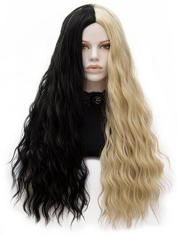 Fancy Long Center Parting Two-tone Natural Wavy Party Synthetic Wig
