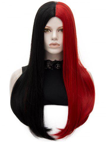 Chic Long Center Parting Two Tone Party Straight Synthetic Wig