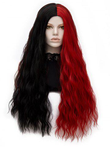 New Center Parting Two Tone Long Natural Wavy Synthetic Wig