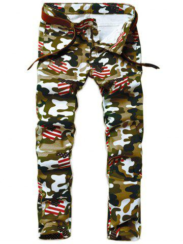 Cheap Camouflage USA Flag Inspired Straight Leg Jeans