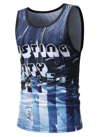 Outfits Casual 3D Letter Print Streetscape Tank Top