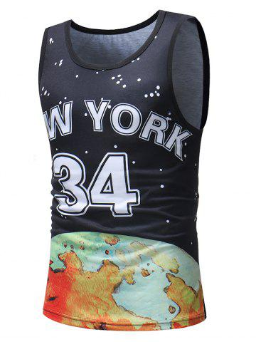 Online Casual Polka Dot Number Letter Print Tank Top