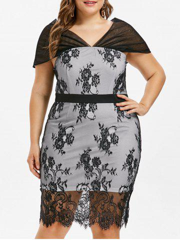 Latest Plus Size Cap Sleeve Lace Bodycon Dress