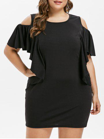 Chic Cold Shoulder Plus Size Flounce Insert Bodycon Dress