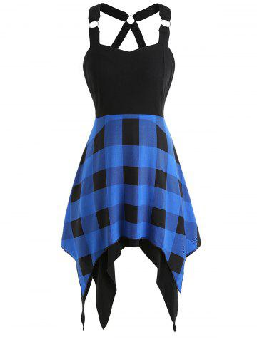 Asymmetrical Tartan Print Insert Dress - Blue - 2xl