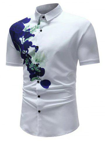 Online Floral Print Short Sleeve Casual Shirt