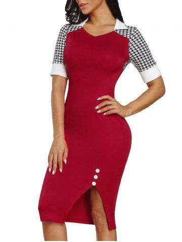 Best Slit Houndstooth Sleeve Bodycon Dress