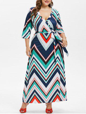 Cheap Plus Size Zig Zag Surplice Dress