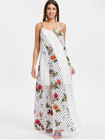 Floral Polka Dot Print Sleeveless Maxi Dress