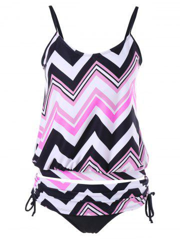 Fancy Zigzag Ruched Blouson Tankini Set