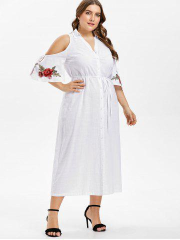 Plus Size Bell Sleeve Embroidery Shirt Dress