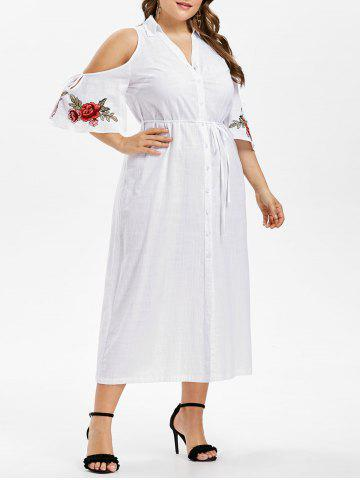 Plus Size Bell Sleeve Embroidery Shirt Dress - WHITE - L